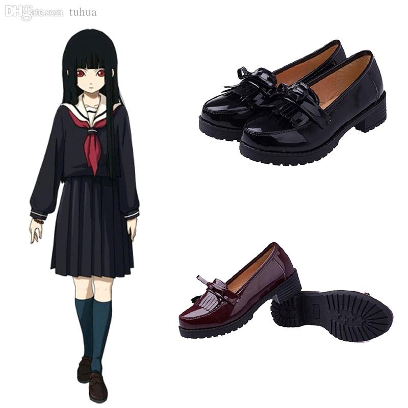 47d9b7bb8d38 2019 Wholesale Anime Hell Girl Character Enma Ai Cosplay Accessory Girl School  Shoes British Style Shoes Black Wine Red Color For Choice AC0007 From ...