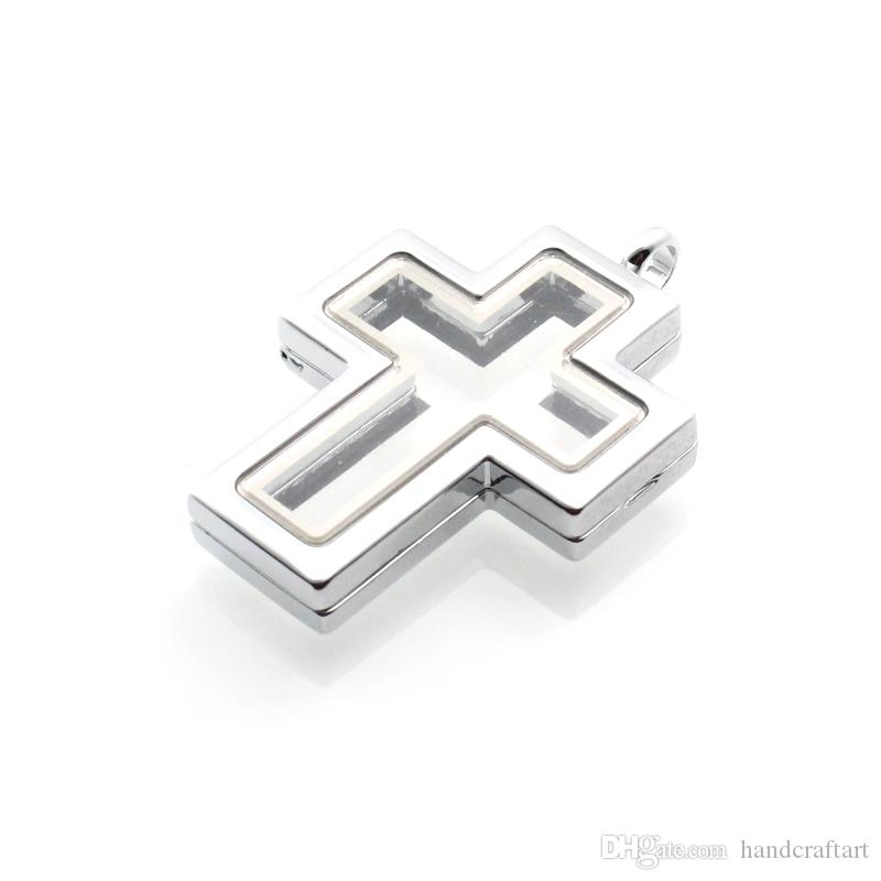 2016 heiß !! Silber Kreuz magnetisches Glas schwimmende Charme Medaillon Zink-Legierung 40 * 30mm Ketten im Lieferumfang enthalten LSFL015-1