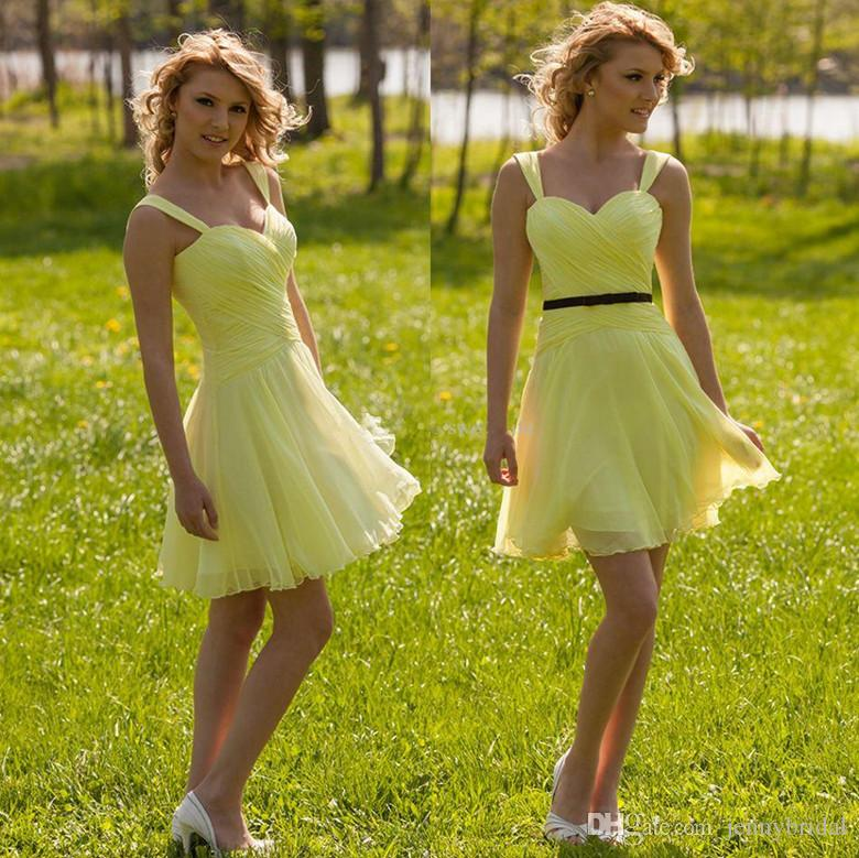 Compre Dama De Honor Amarillo De Encargo Corto 2015 Vestido De La ...
