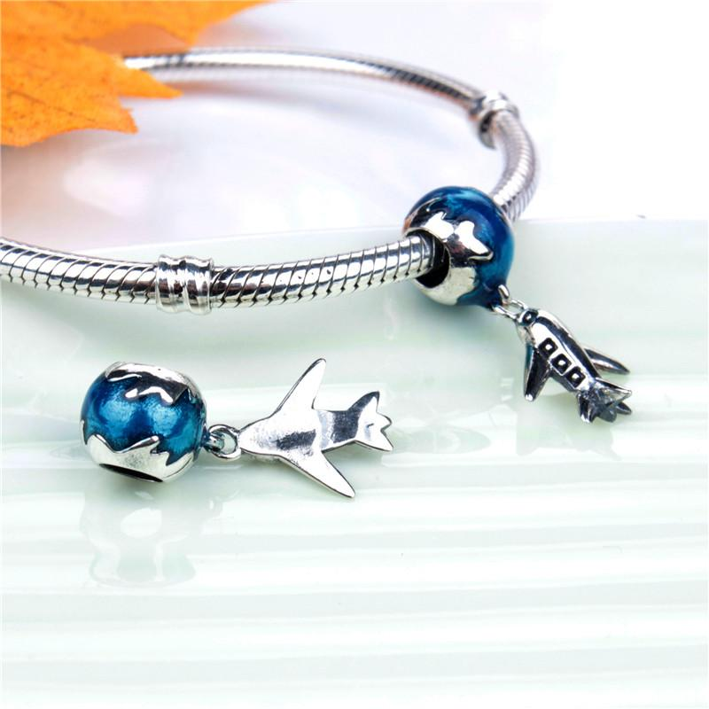 Genuine S925 Sterling Silver Charm Bead Travel Around The World By Plane Fashion Women Jewelry European Style For Pandora Bracelet 078
