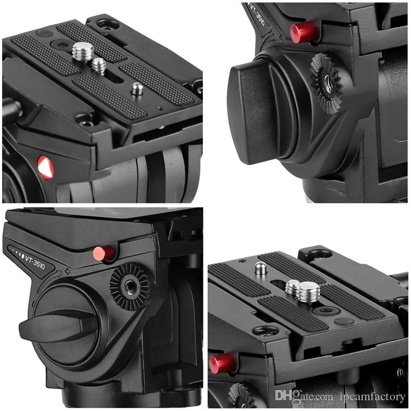 "KINGJOY VT-3510 Heavy Duty Video Camera Tripod Fluid Drag Pan Head with Sliding Plate 1/4"" and 3/8"" Screws for Canon Nikon Sony DSLR Camera"