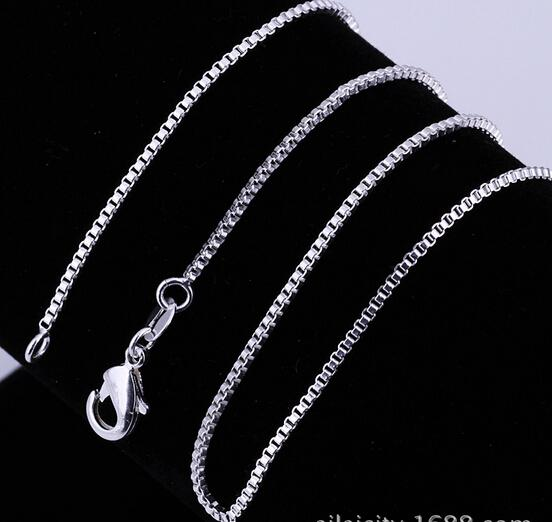 silver chain men women fashion box design 925 sterling silver chain necklace jewelry the classic all match wholesale chain from luckyhat
