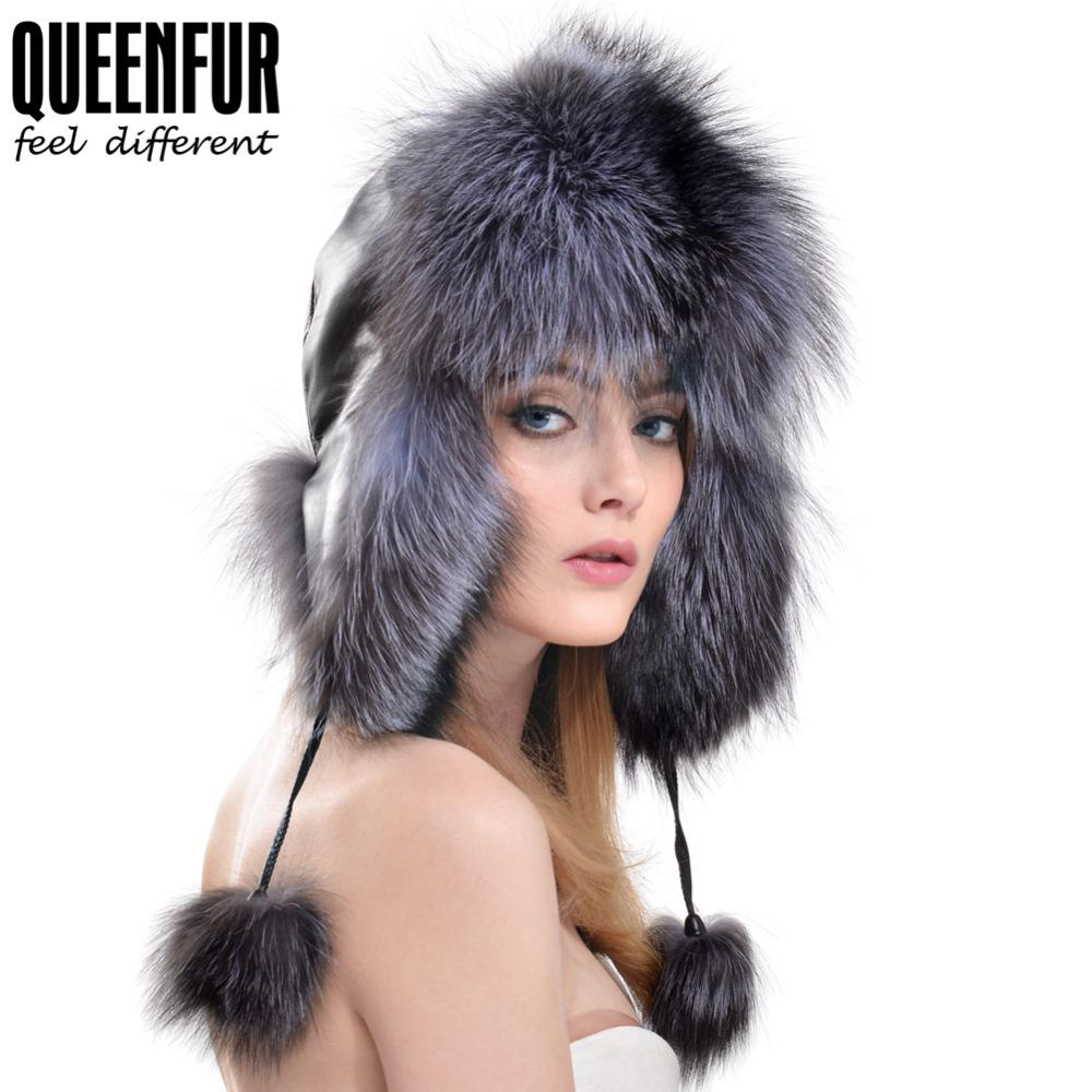 Wholesale- QUEENFUR Real Fox Fur Bomber Hats With Genuine Leather ... ff723e412676
