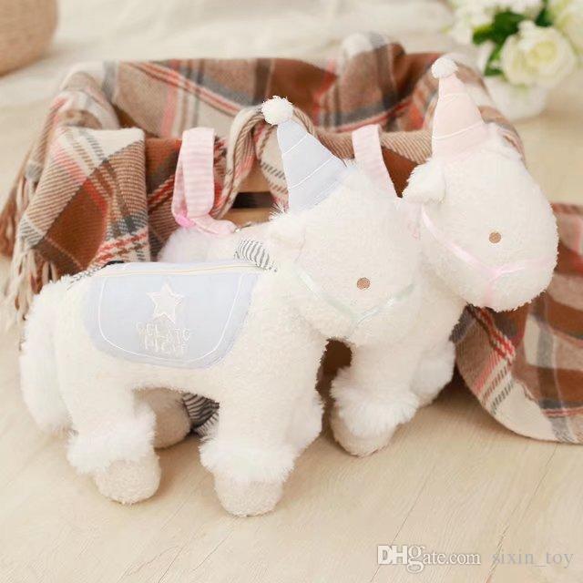 30cm Cute Pony Unicorn Plush Shoulderbag Backpacks Soft Stuffed Toy Girls Gifts Fluffy Bag Christmas Gift DHL