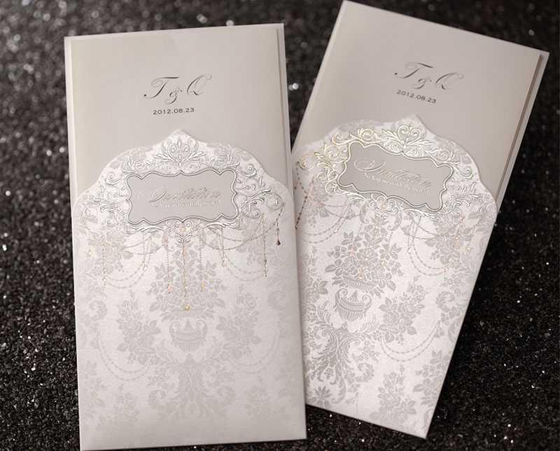 Elegant Silver Wedding Invitation Card Function Party Invitation ...