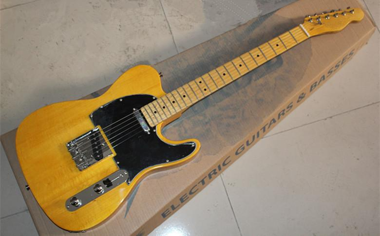 New Arrival Custom Shop Yellow Telecaster Guitar Vintage Maple Fingerboard Tele White Electric Guitar Chrome Hardware Free Shipping