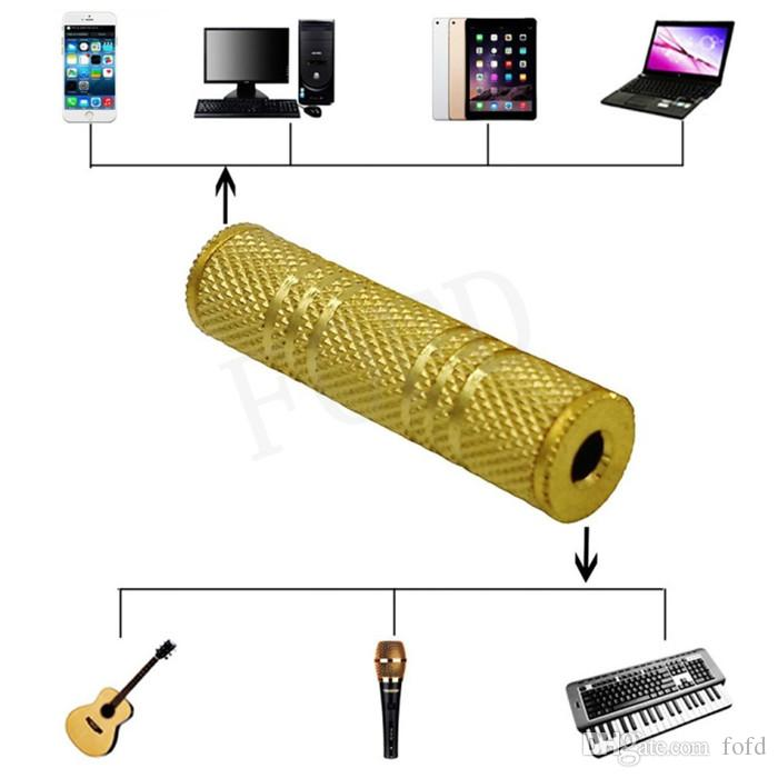 3.5mm Female to 3.5 mm Female F/F Audio Adapter Coupler Metal Gold Plated