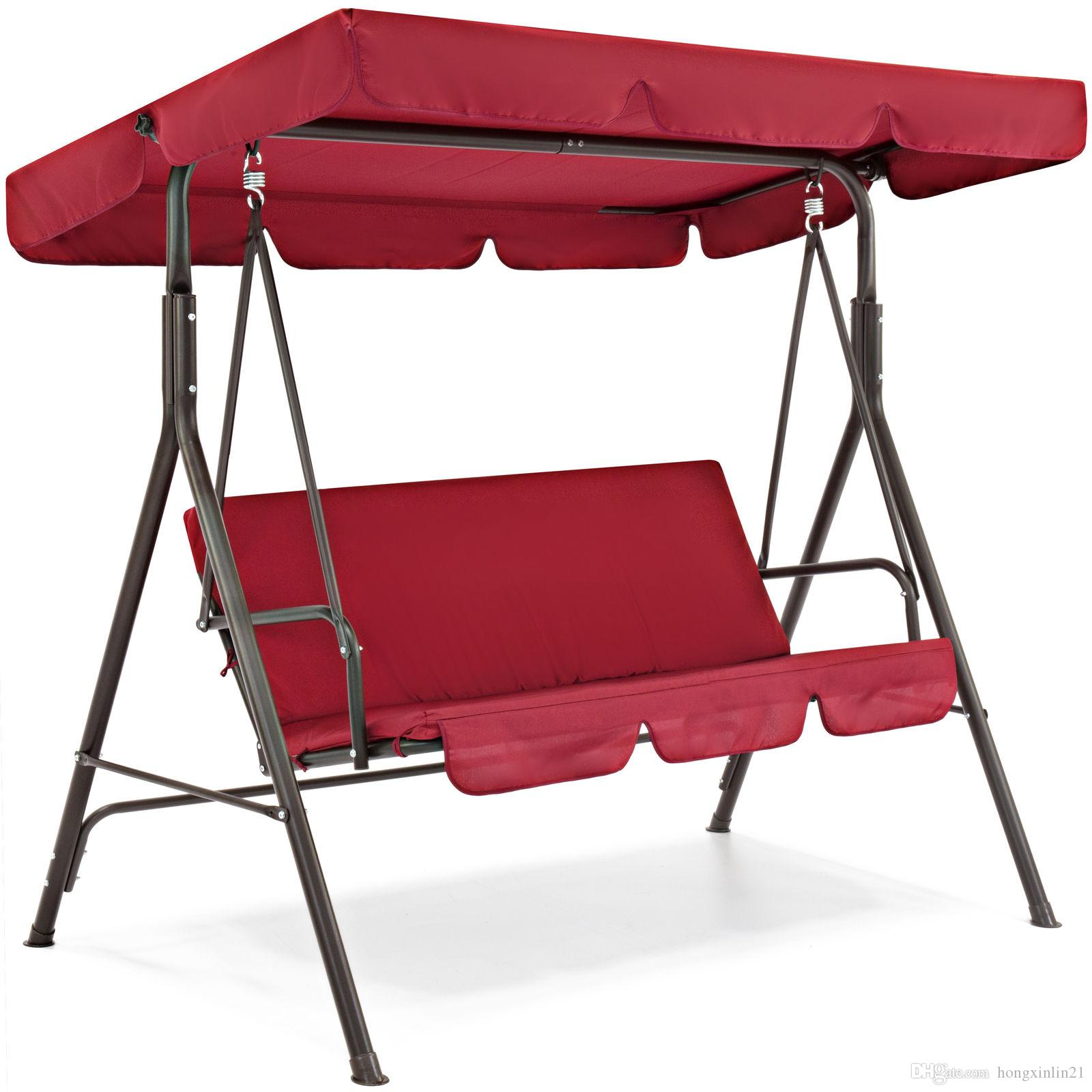 2019 Outdoor Furniture Swing Canopy 3 Person Patio Swing Burgundy