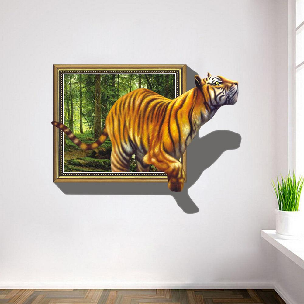 2017 wall stickers 3d tigers picture frame extra large pvc removable creative kids room wall. Black Bedroom Furniture Sets. Home Design Ideas