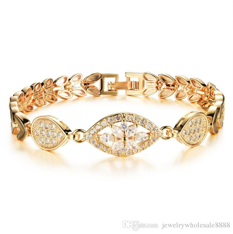 Luxury Gold Color Chain Link Bracelet For Women Ladies Shining Aaa