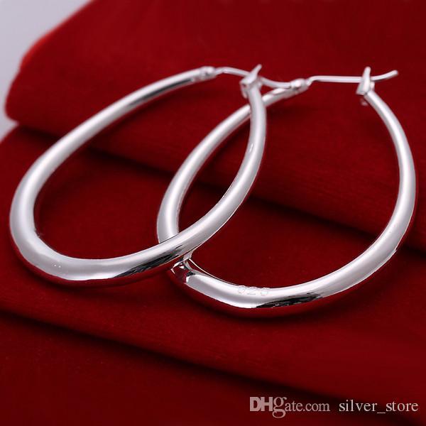 Marca nueva placa de plata tridimensionales pendientes en forma de U DFMSE080, plata 925 cuelga los pendientes de araña de las mujeres de 10 pares mucho