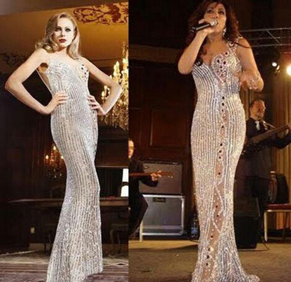 2015 Sexy Sheath Evening Dresses Sweetheart Neckline Sleeveless Sequins  Beaded Full Length Party Dresses Najwa Karam Plus Size White Evening Dresses  Plus ... fd9c2359ad70