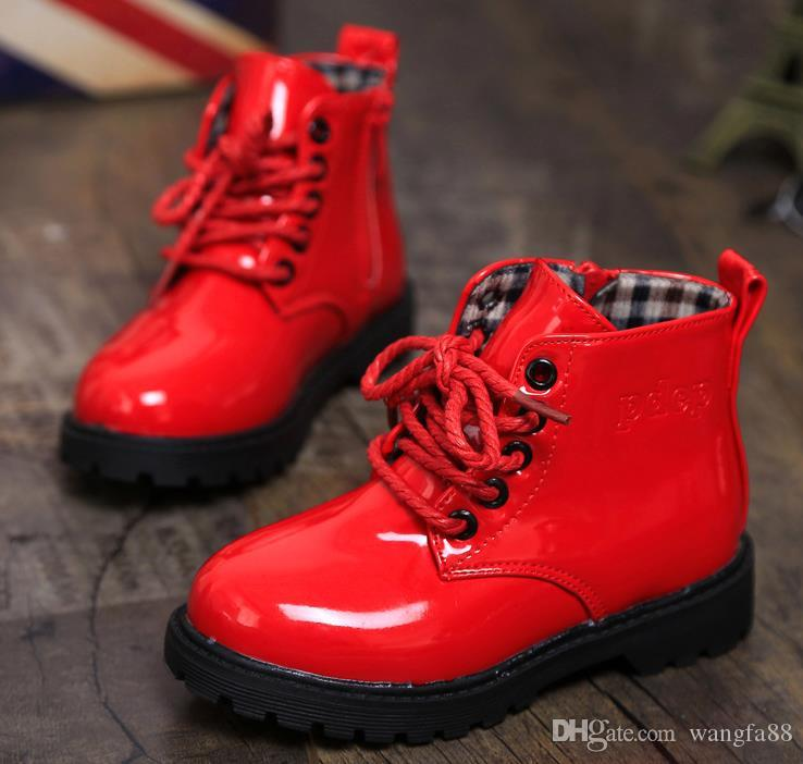 Girls Boys Kids 2016 New Child Leather Boots Female Child Martin Boots Boys  Shoes Single Shoes Little Girl Spring Baby Boots Kids Gold Boots Baby Girls  ... c39acd792c5c