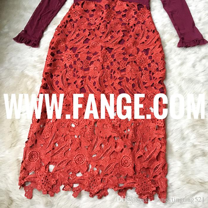 New design women's sexy luxury o-neck wine red color gauze perspective long sleeve patched lace crochet floral hollow out maxi long dress