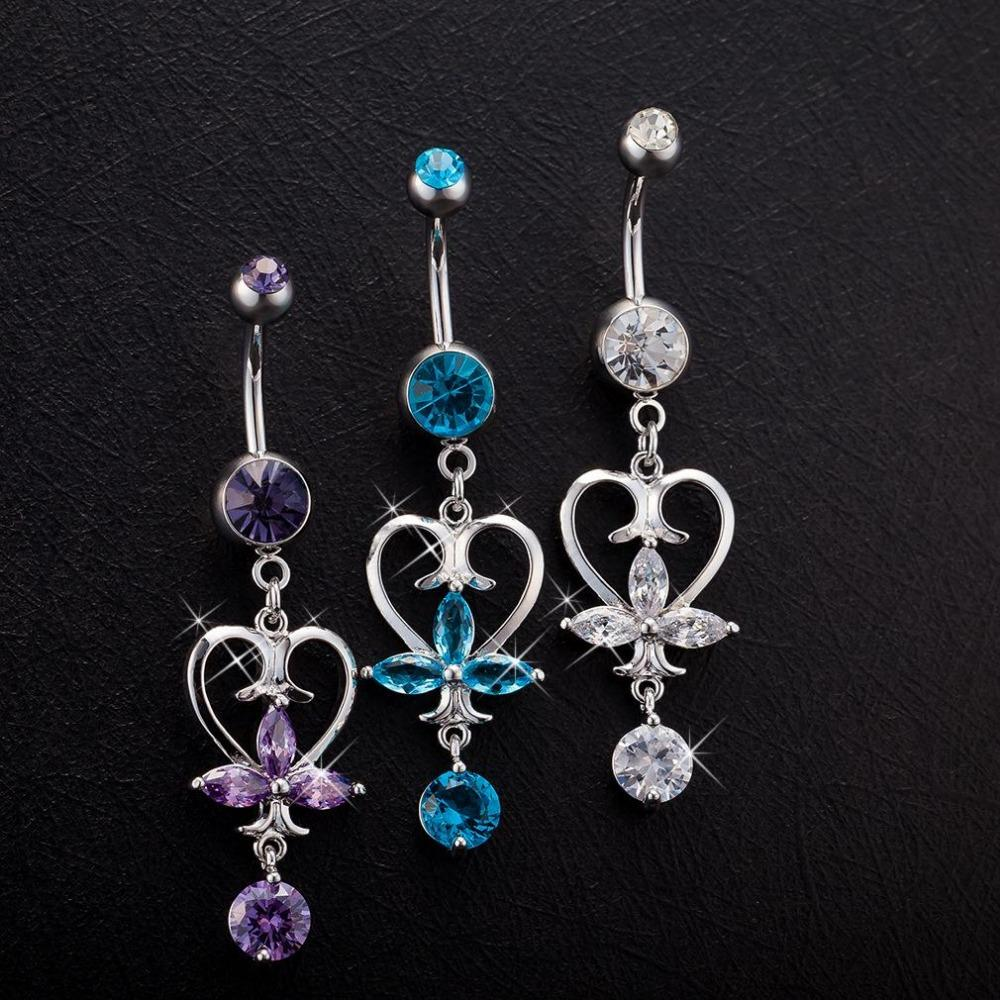 Sexy Girl Crystal Flower Belly Button Heart-Shaped Pendant Athena Sign Body Piercing Jewelry Anti Allergic Belly Dance Jewelry