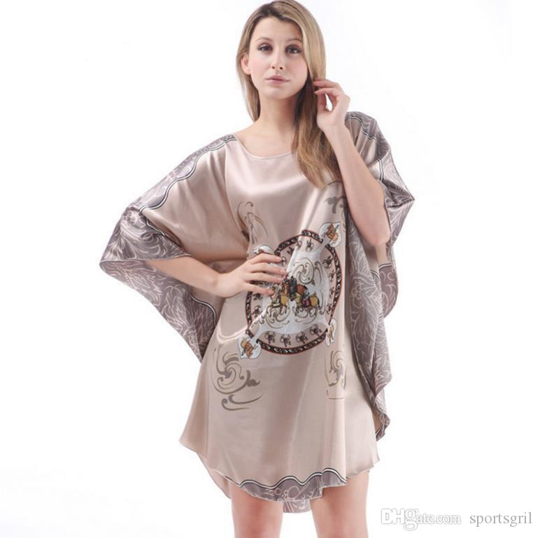 2019 Women Sleep Dress Sexy Satin Sleepwear Silk Nightgown Ladies  Nightdress Sexy Lingerie Batwing Sleeve Floral Lotus Chinese Style  Sleepshirts From ... 9fe0b7258