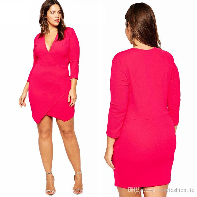 2016 Spring 3xl 8xl Women Dresses Plus Size Elegent Rose Red Deep ...
