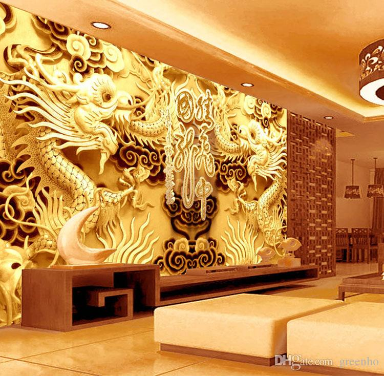 3d golden dragons photo wallpaper woodcut wall mural for Asian wallpaper mural