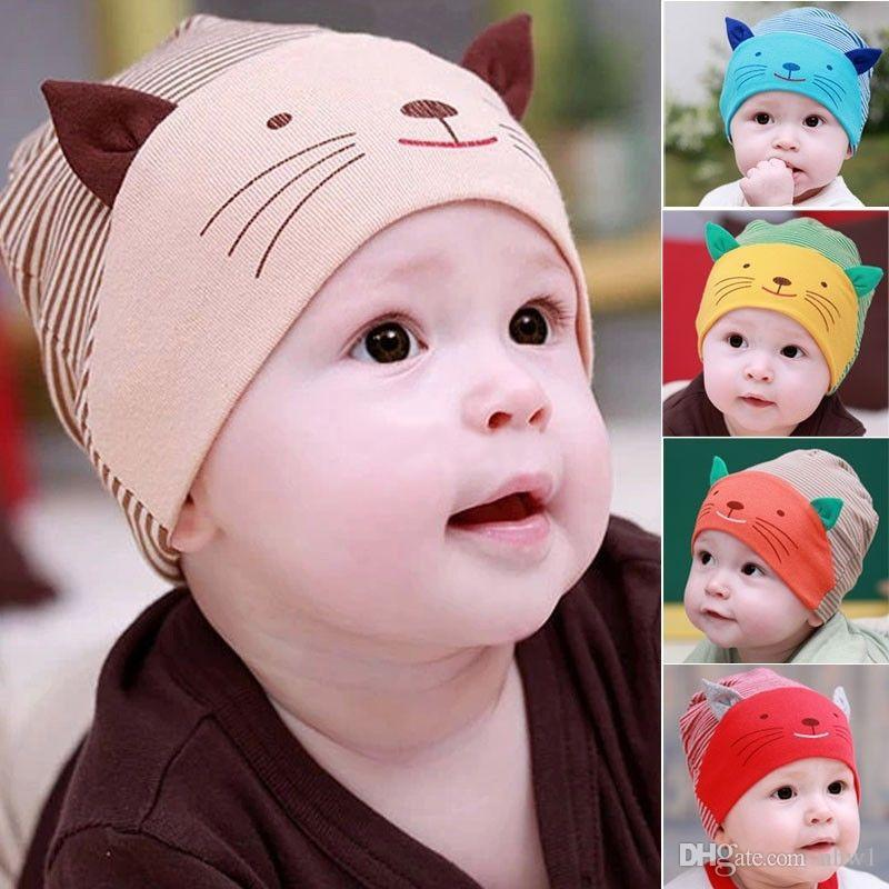 6c6b6b0f0 Cute Baby Infant Beanie Cotton Hat Toodler Boys Girls Kids Striped Stripe  Cat Cap 5 Colors