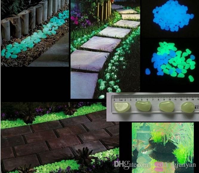أحدث الحصى الزخرفية لحديقتك الرائعة أو الفناء 100 قطعة / الحزمة يتوهج في الظلام الحجارة الأحجار ل Walkway ثمانية ألوان