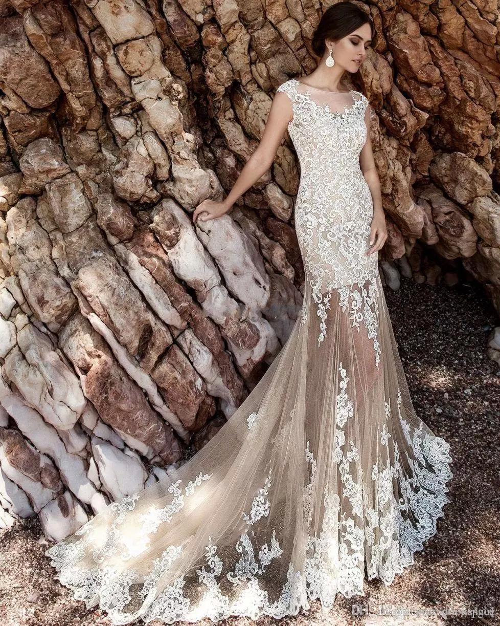 2017 Шампанское русалка свадебные платья с съемной юбкой Урожай белый кружевной аппликации Sash Boho Bridal свадьбы свадьбы Vestidos de Noiva