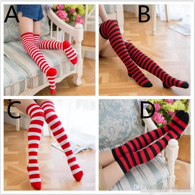 ddd966f41 Stripe Stockings Girls Knee High Red Black White Striping Christmas Socks  For Teenage Adult Family Matching Look B11 Dress Socks Online Best Sock  Brands ...