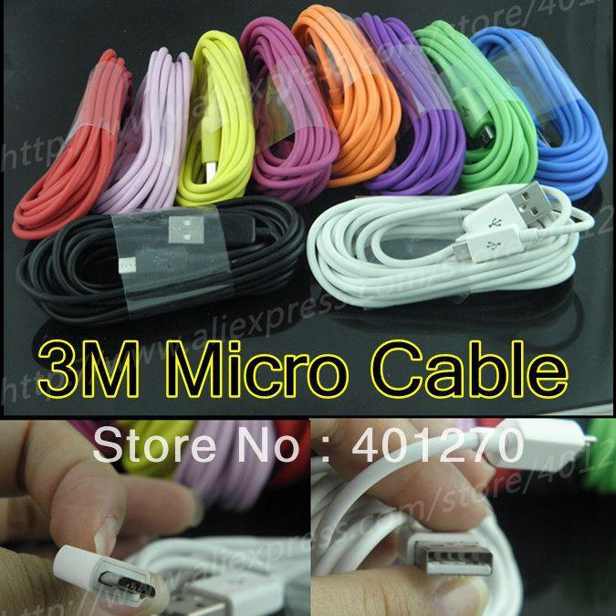 Micro USB Câble Couleur Data Sync de recharge Charge Cable 3M Colorful Micro 5 broches pour Samsung HTC Blackberry