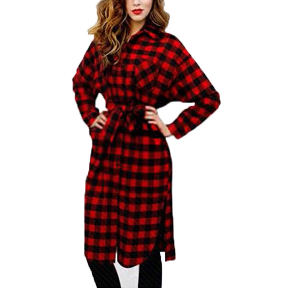 2015 Women Boyfriend Scottish Style Long Sleeve Lapel Grid Plaid ...
