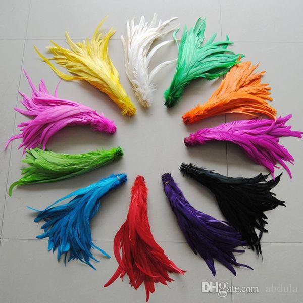 Rooster Feather Schwanzfeder Rooster Hackle Feather Strung 35-40cm Hühnerfedern Gefärbt Dachsattel Haarverlängerung