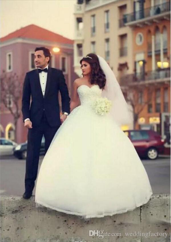 Prinsessan Bröllopsklänningar Beaded Top Ball Kappa Mjuka Tulle Bridal Klänningar Med Kristaller Sweetheart Plus Storlek Lace Up Corset Back Custom
