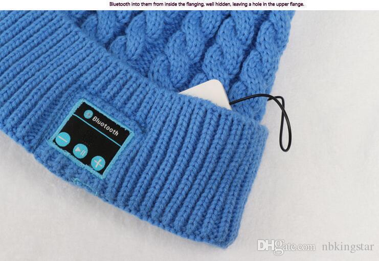 Women Sports Knitted Bluetooth Hat Headphone Speaker Beanie Bluetooth Headphone Warm Winter Music Cap by DHL