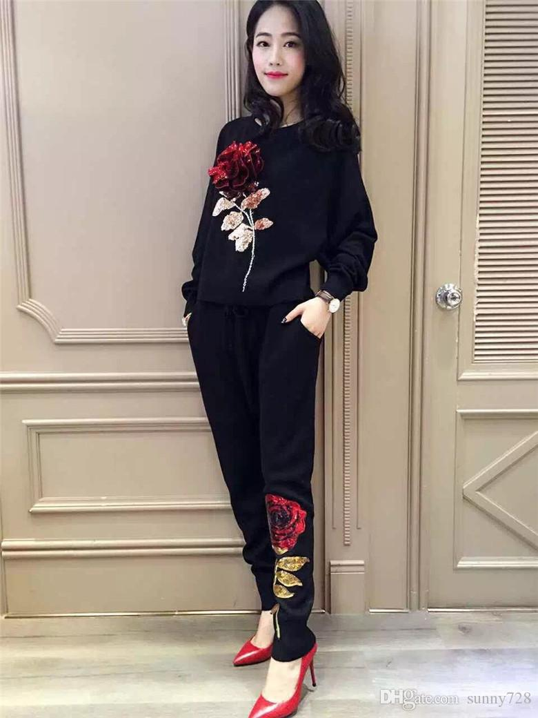 New Arrival 2016 Fashion Handmade Flower Knitted Women Clothing Sets Black Sweater Suits Batwing Sleeve Top + Pants Women Tracksuits