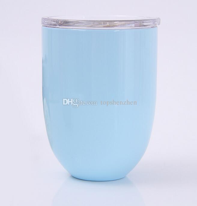 10 oz copos de ovo de Vinho copos de vinho stemless copo de vinho de Aço Inoxidável 304 canecas de Café de Parede Dupla de Vácuo Isolado Canecas Com Tampas Claras