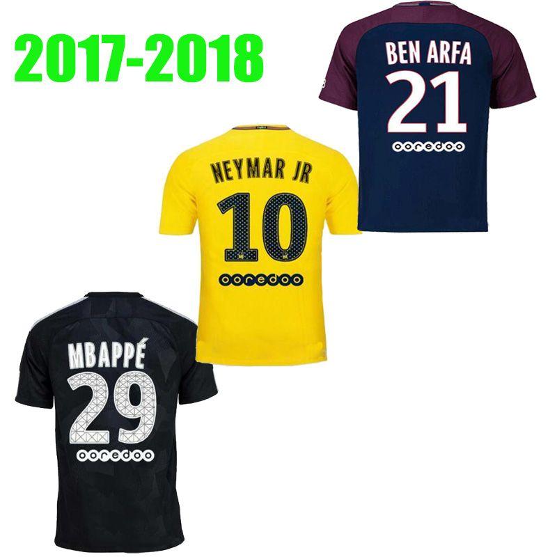 2019 Newest 17 18 NEYMAR JR Yellow Black MBAPPE Soccer Jersey 2018 Home Away  Verratti Cavani Di Maria Maillot De Foot Survetement Football Shirts From  ... d5efb727f