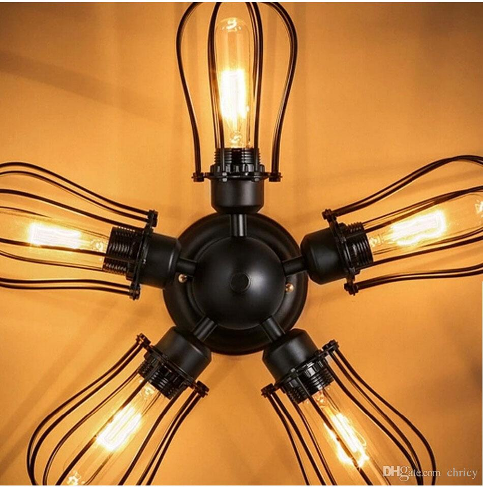2016 new arrivals 5 Heads E27 Edison Industrial American Country Loft Warehouse Ceiling Light Ceiling Fan Lamp Design For Bar Cafe Dining Ro