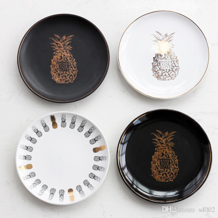 2018 Gilding Pineapple Dinner Plates Multifunction Ceramic Candy Storage Tray Luxury Designer Dishes For Wedding Party Decorations 13qj C Rz From Sd002 ... & 2018 Gilding Pineapple Dinner Plates Multifunction Ceramic Candy ...