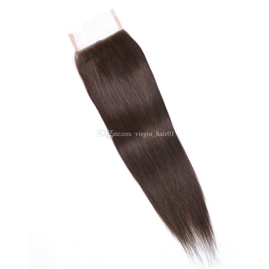 #4 Medium Brown Color Straight Virgin Hair Bundles With Lace Closure Chestnut Brown Peruvian Human Hair Weaves With 4*4 Top Lace Closure