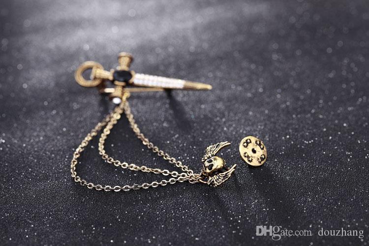Hot Unisex Punk Chains Tassels Wing SKull Gem Rhinestone Arrow Cross Pins Clip Brooch For Women Men Jewelry Wholesale