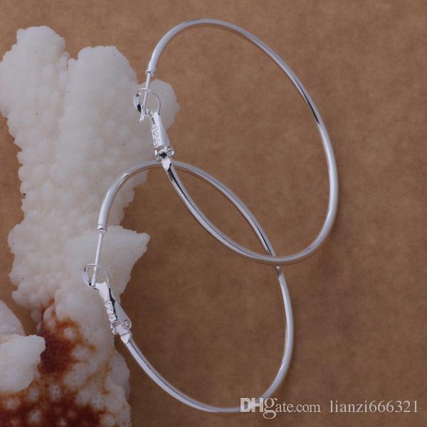 고품질 925 스털링 실버 후프 귀걸이 대 직경 5-8CM 패션 파티 보석 꽤 귀여운 크리스마스 선물 무료 배송 1343
