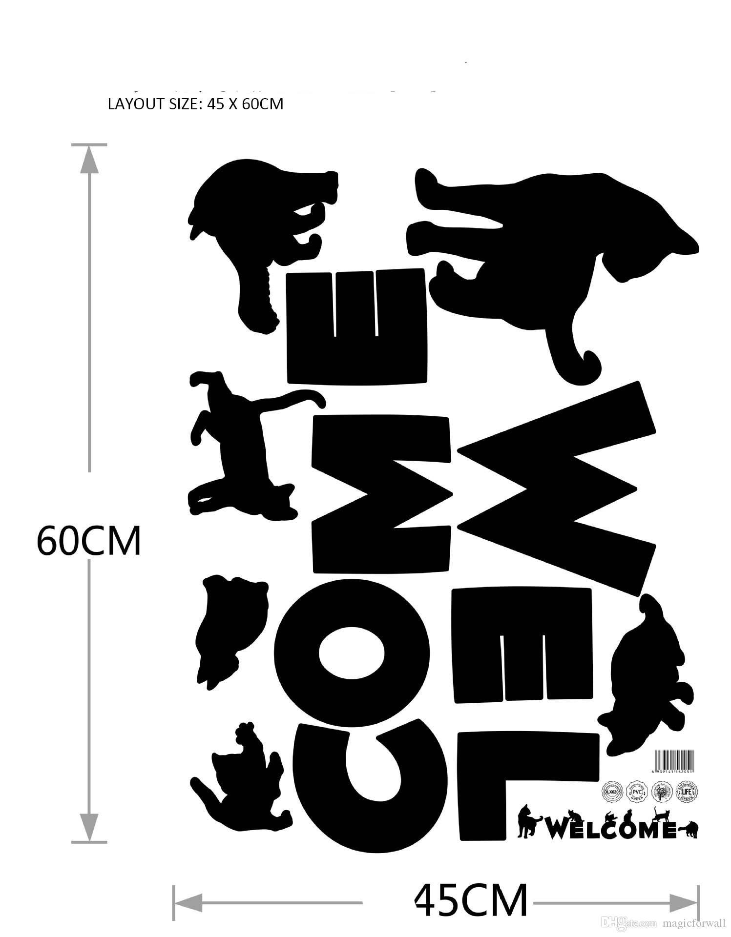 Black Cat Wall Art Decal Sticker English Words Welcome Store Door Window Decoration Wallpaper Decal Poster Creative Glass Window Decor