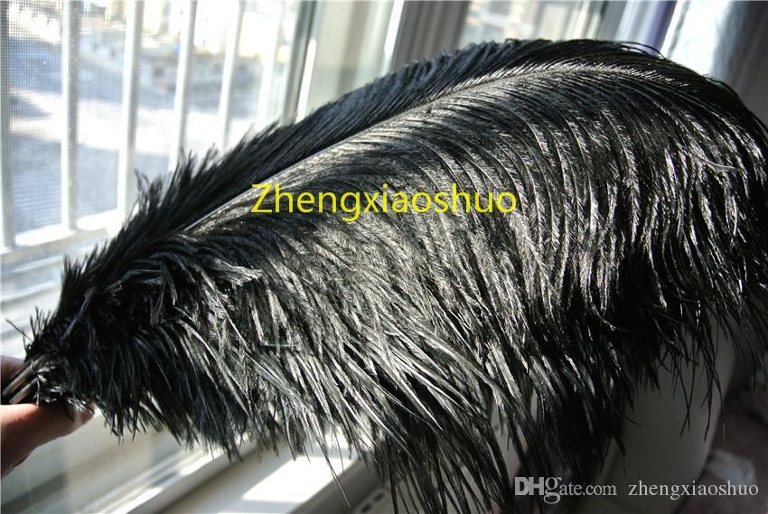 Freier Verschiffengroßverkauf / 18-20inch 45-50cm schwarze Straußenfedern für Hochzeitsmittelstückhochzeit home decoraction