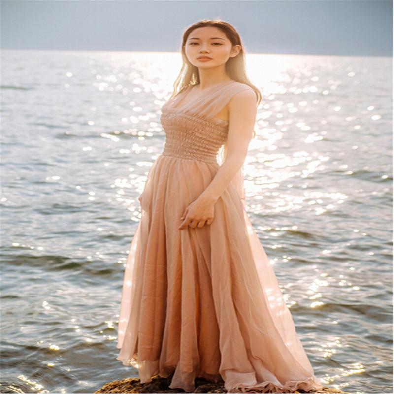 Summer Maxi Dresses 2015 Bohemian Summer Chiffon Dress Vacation Beach Goddess Backless Halter Dress Temperament Nude Color Dresses for Women