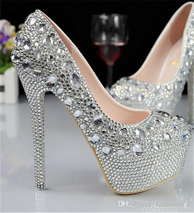 Chaussures à Talons Hauts Femmes Imperméables Et Diamant Ornement Chaussures De Mariée Mode Lady Chaussures De Demoiselle D'honneur Confortables Et Antidérapantes
