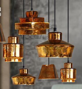 Bar Antique Gold Glass Pendant Lights E27 Coffee Shop Rustic Lamp Abajur  Vintage Pendant Lamp Gold Glass Loft Industrial Light Pendant Light Bulbs  Red ...
