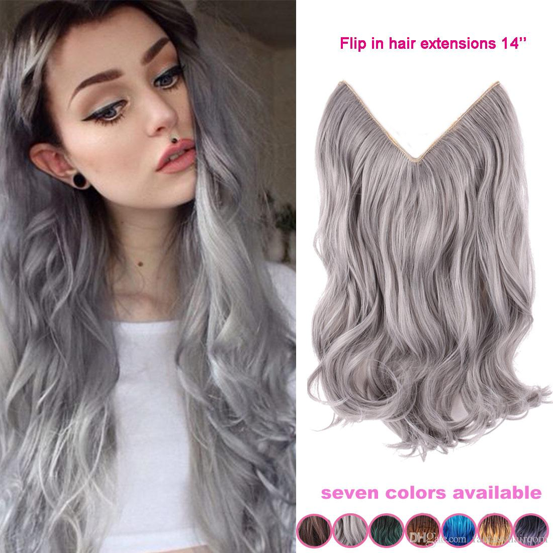 14 inch no clip hair flip halo hair extension silver gray hair see larger image pmusecretfo Choice Image