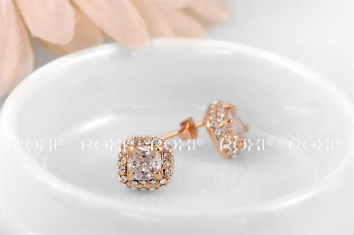 015 ROXI Christmas luxury Earrings,rose gold glated CZ diamond 2 carat 100% handmade fashion jewelry,2020026590
