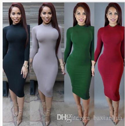 Wholesale Plus Size Winter Soft Cotton Stretch Black Party Dresses