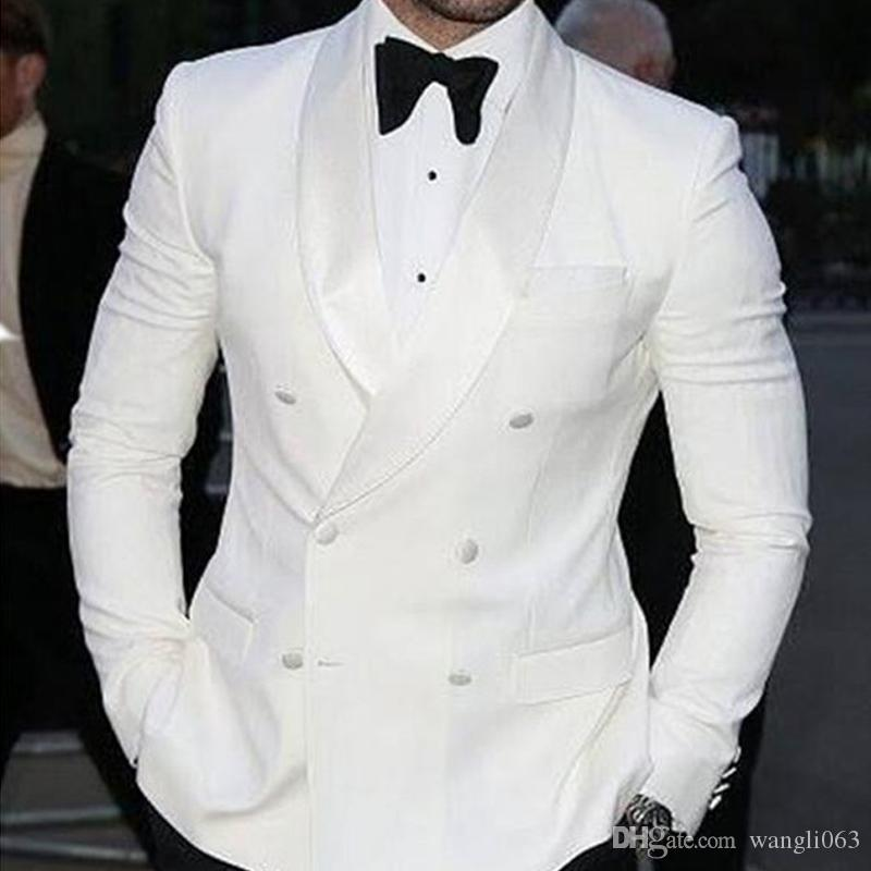 White Wedding Groomsmen Tuxedos 2018 Double Breasted Trim Fit Groom