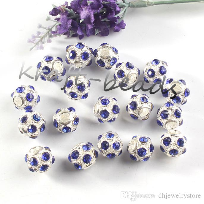 vente en gros breloques argent plaqué mixte coloré cristal autrichien strass football européenne perles résultats bijoux couleur aléatoire