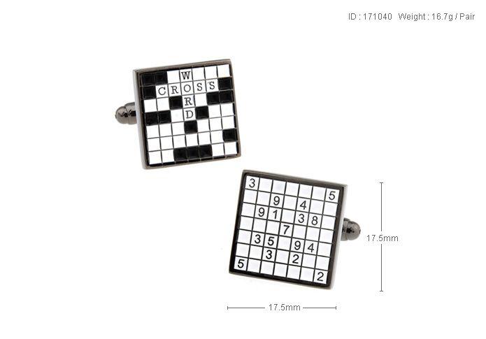 Alta qualità New Classic Silver Copper Mens Gemelli da sposa Novità Rare Fancy Scrabble Sudoku Panno pulito 171040